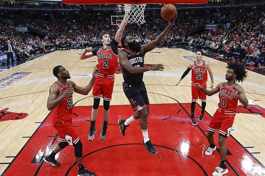 Houston guard James Harden, with 42 points, scoring against Chicago at the United Centre on Saturday. The Rockets outscored the Bulls 36-18 in the third quarter to turn a one-point edge into a lopsided lead for the 117-94 win.