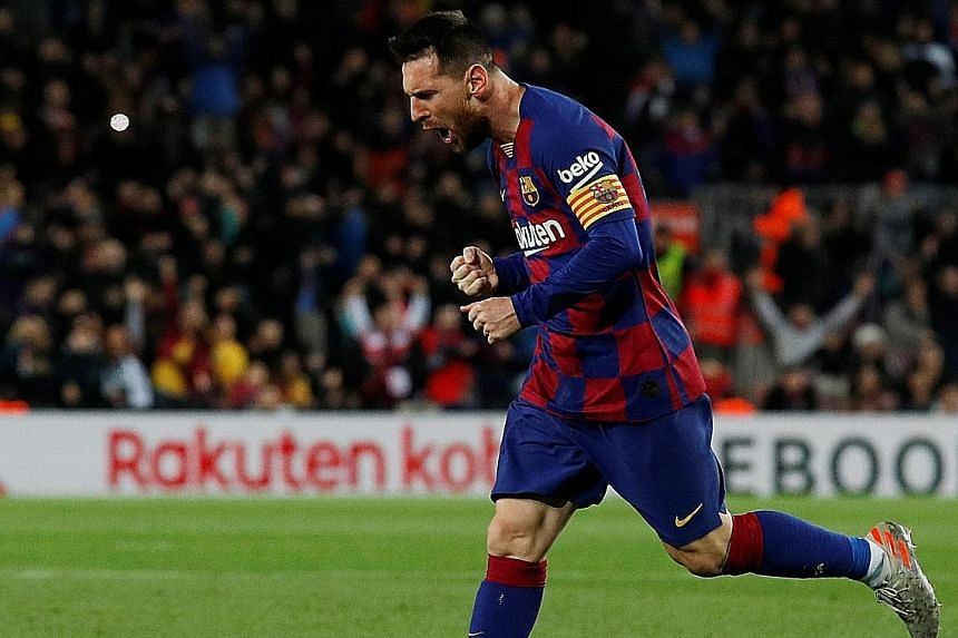 Barcelona's Lionel Messi celebrating the second of his three goals from set pieces against Celta Vigo on Saturday. He achieved the same feat in 2012 against Espanyol with two penalties and a free kick.
