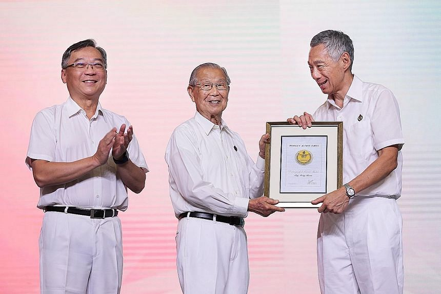 Former Cabinet minister Ong Pang Boon, 90, received the People's Action Party's highest honour - the Distinguished Service Medal - for his contributions to Singapore and his years of service to the party. The award was presented to him by Prime Minis