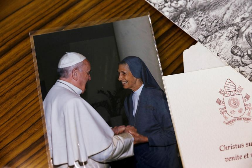A picture of Pope Francis and Sister Ana Rosa Sivori is seen at the St Mary School in Udon Thani province, Thailand.