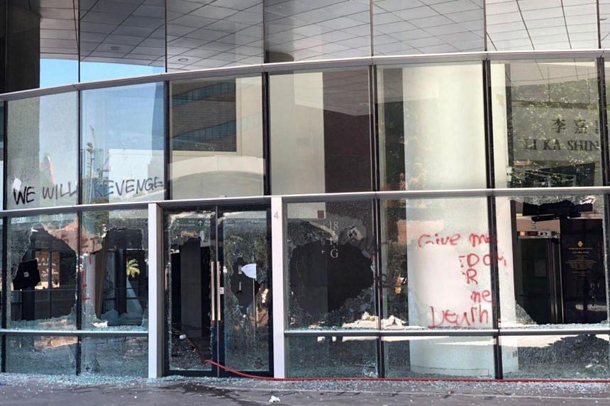 The vandalised library at Hong Kong Polytechnic University on Nov 11, 2019.