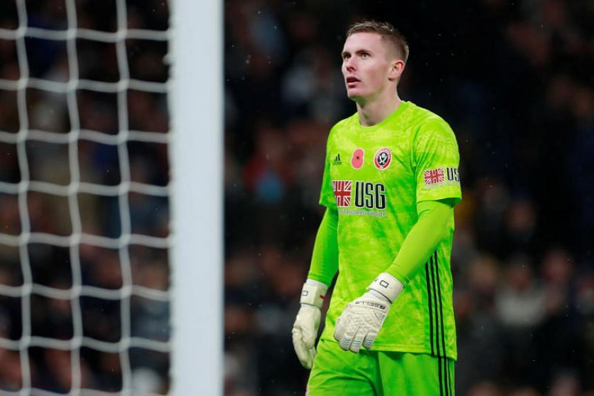 Sheffield United goalkeeper Dean Henderson looks on during the EPL match between Tottenham Hotspur and Sheffield United in London, Britain on Nov 9, 2019.