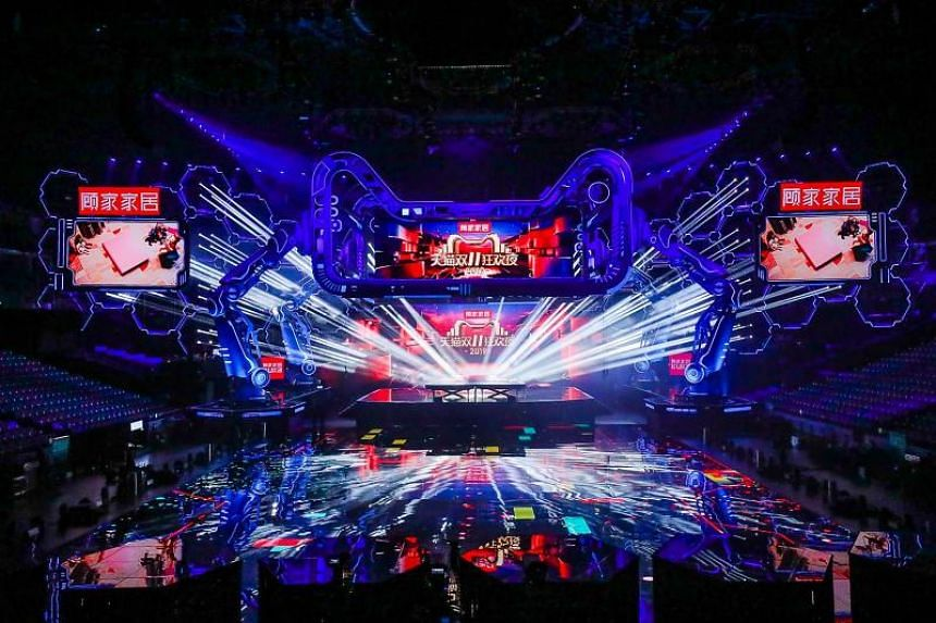 A general view of the 2019 Tmall 11:11 Global Shopping Festival gala is pictured in Shanghai on Nov 10, 2019.