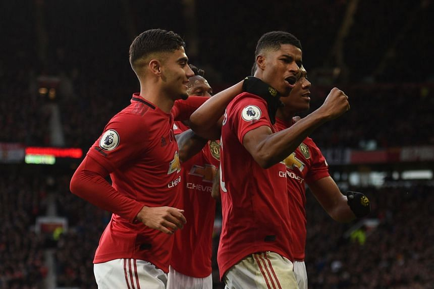Manchester United's Marcus Rashford celebrating after scoring in the 3-1 win over Brighton at Old Trafford in the Premier League on Sunday (Nov 10).
