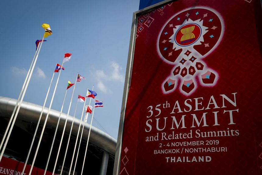 Asean signs and Asean member national flags are displayed outside IMPACT Muang Thong Thani in Nonthaburi province, Thailand, on October 30, 2019.