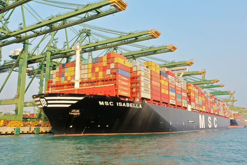 MSC Isabella pictured at PSA Pasir Panjang Terminal where it made it is making its maiden call, on Nov 10, 2019.