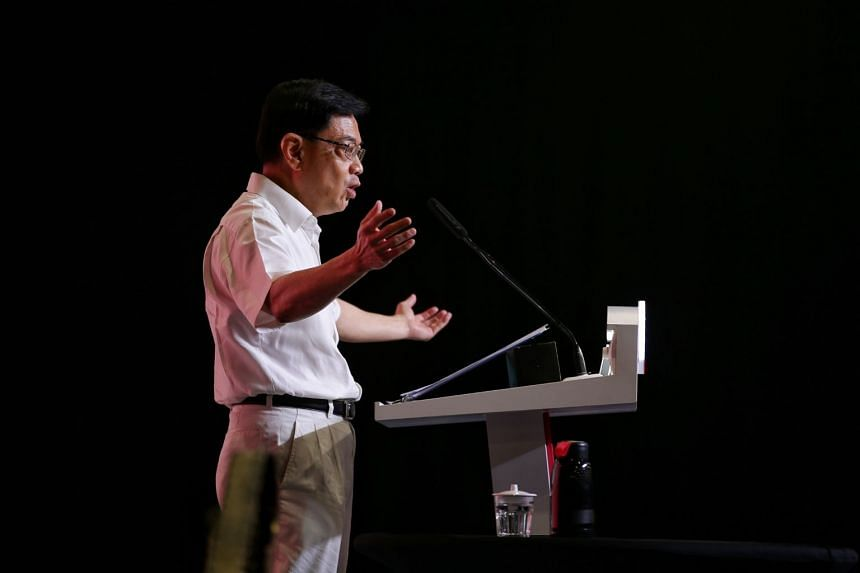 DPM Heng Swee Keat speaks during the PAP 65 Awards and Convention at the Singapore Expo, on Nov 10, 2019.