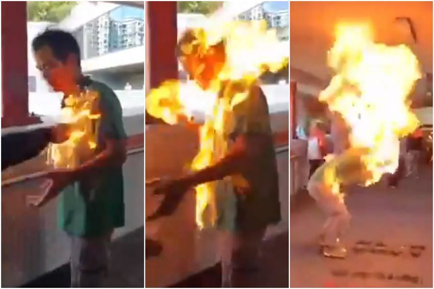 A man was set on fire after an argument with a group of people in Ma On Shan, Hong Kong, on Nov 11, 2019.