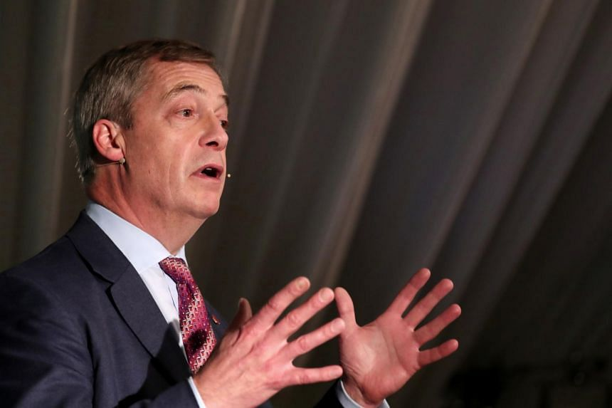 Brexit Party leader Nigel Farage speaks during a general election campaign event in Sedgefield, Britain on Nov 11, 2019.