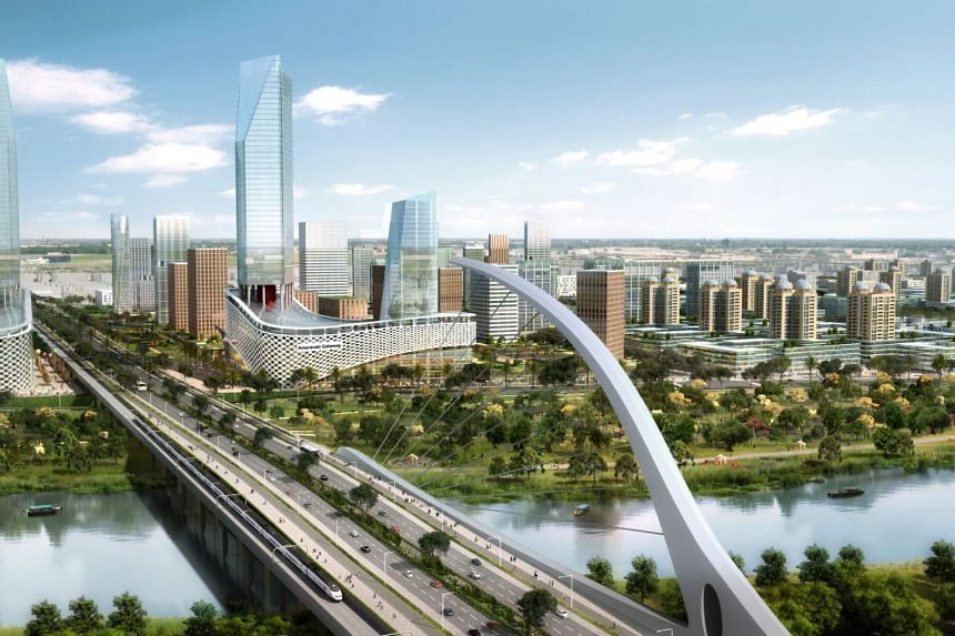 An artist's impression of Amaravati, the capital city for the southern Indian state of Andhra Pradesh.