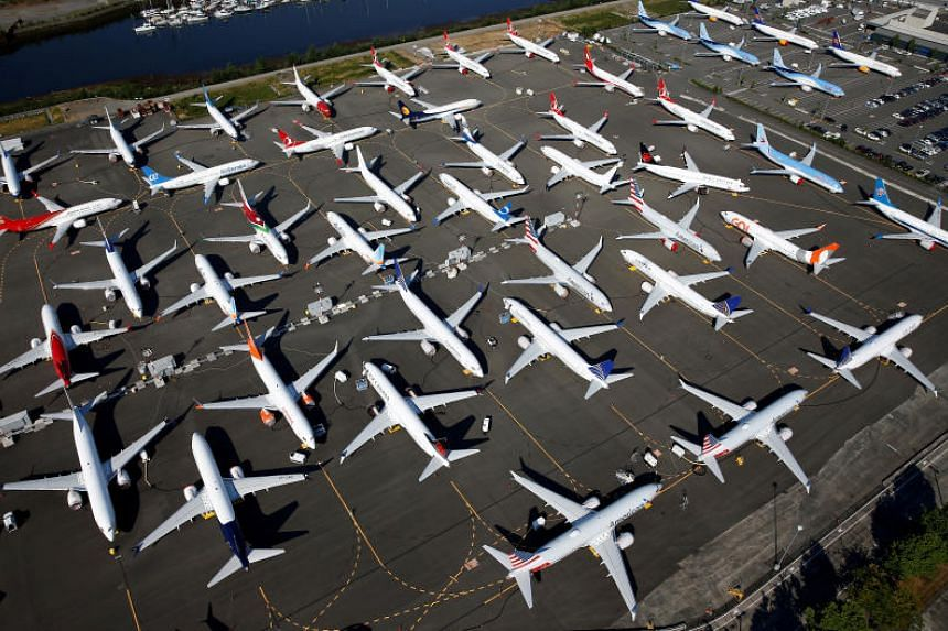 Dozens of grounded Boeing 737 MAX aircraft parked at Boeing Field in Seattle, Washington, on July 1, 2019.