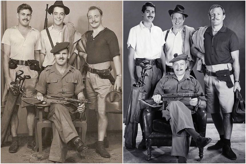 The original photograph (left) has Captain John Ritchie (right) and Captain James Grant (centre, standing).
