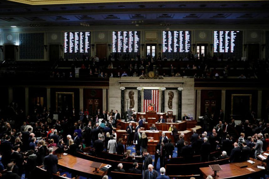 The US House of Representatives cast their votes on a resolution that sets up the next steps in the impeachment inquiry of President Donald Trump, in this picture taken in Washington on Oct 31, 2019,
