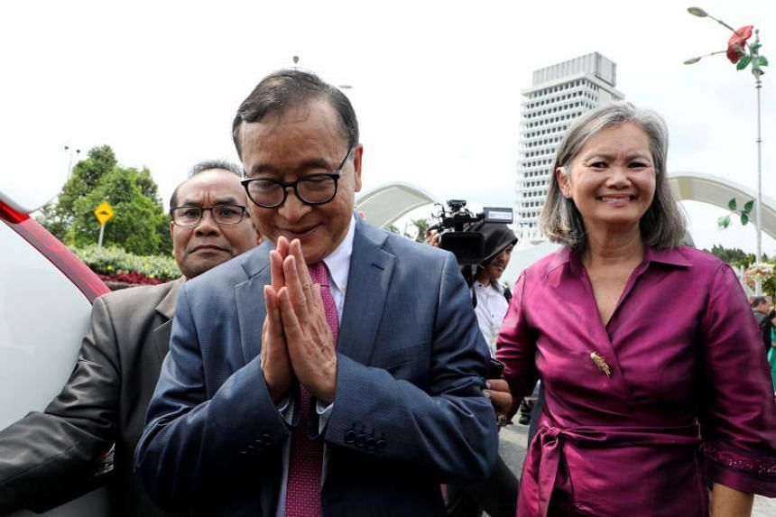 Cambodia's exiled opposition leaders Mu Sochua leave Parliament House in Kuala Lumpur, Malaysia, on Nov 12, 2019.