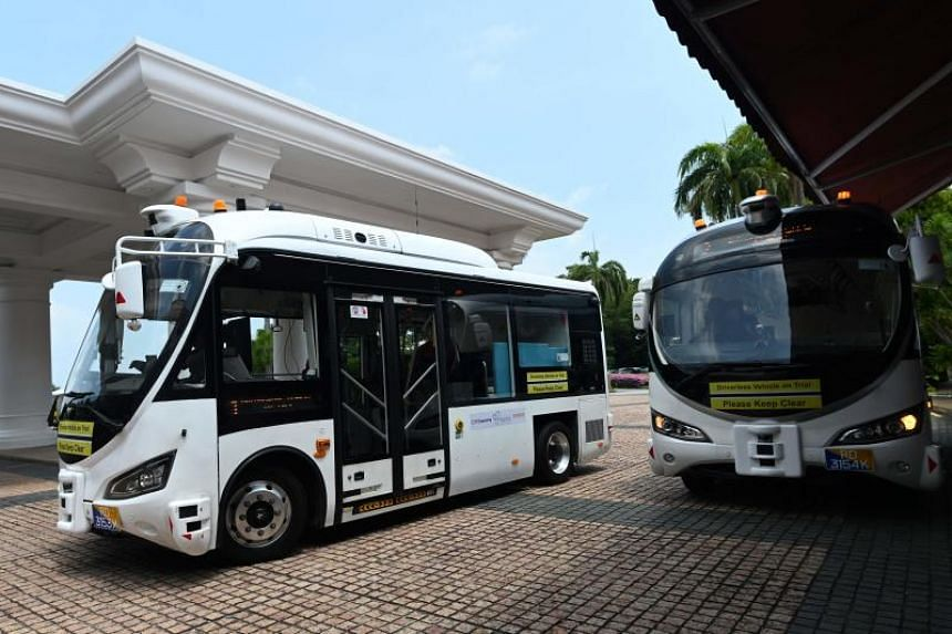 On-demand autonomous shuttle buses are seen at Sentosa island resort in Singapore on Aug 20, 2019.