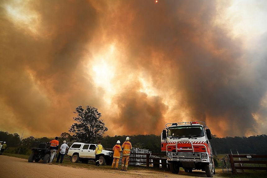 Firefighters and residents watching smoke rise from a bush fire outside Nana Glen, a village in New South Wales, Australia, yesterday. PHOTO: DPA