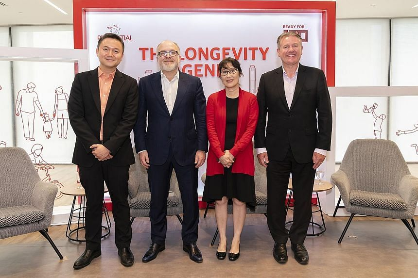 Panellists at yesterday's discussion: (from left) Mr Jeffrey Tan, National Volunteer and Philanthropy Centre's director for knowledge, marketing and advocacy; Professor Andrew Scott from the London Business School; Dr Carol Tan, medical director of T
