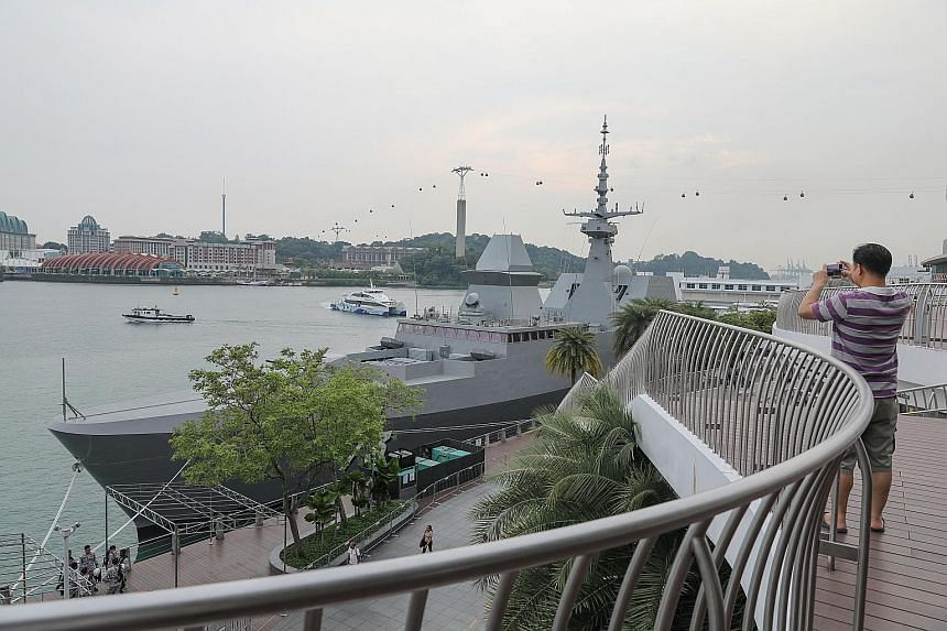 The stealth frigate RSS Supreme docked outside VivoCity mall as part of the Navy@Vivo public outreach event that starts today. The ship will be open to the public for tours during the six-day event. ST PHOTO: ONG WEE JIN
