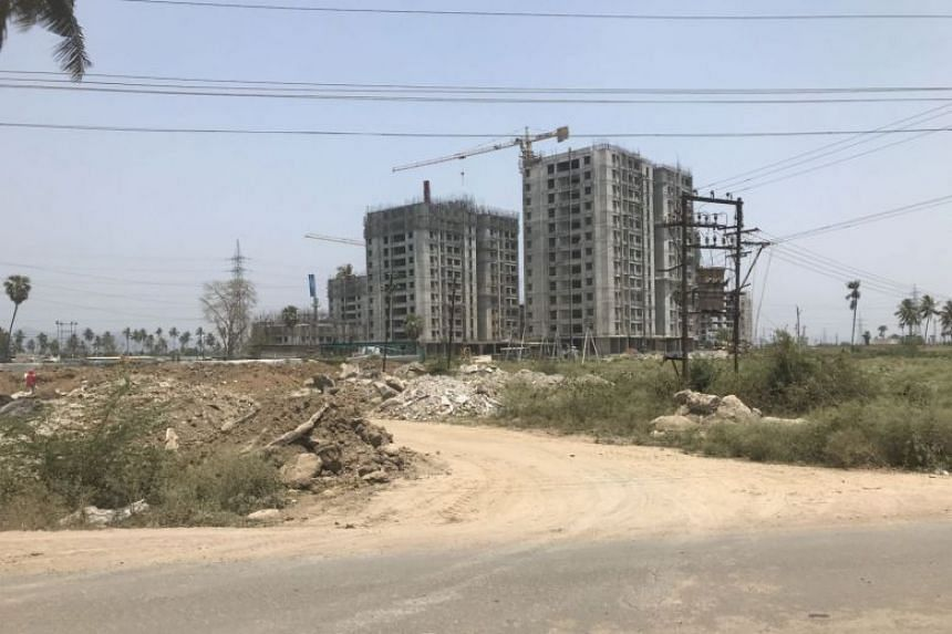 In a photo from April 7, 2019, building works can be seen in Amaravati, India. Farmers have long criticised as impractical the plan to build a concrete capital in one of India's most fertile agricultural regions.