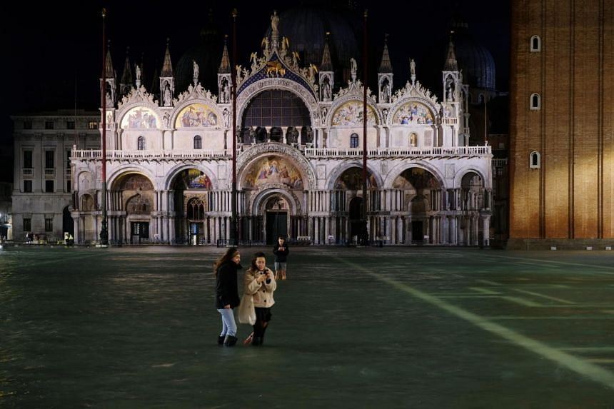 A flooded St. Mark's Square in Venice, on Nov 12, 2019.