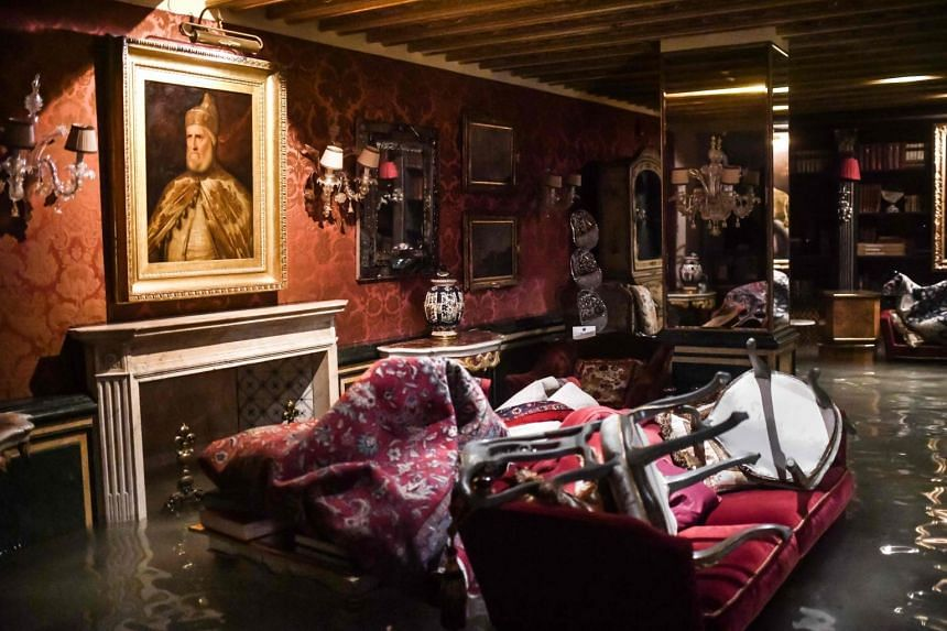 A room in the flooded Gritti Palace on Nov 12, 2019, in Venice.