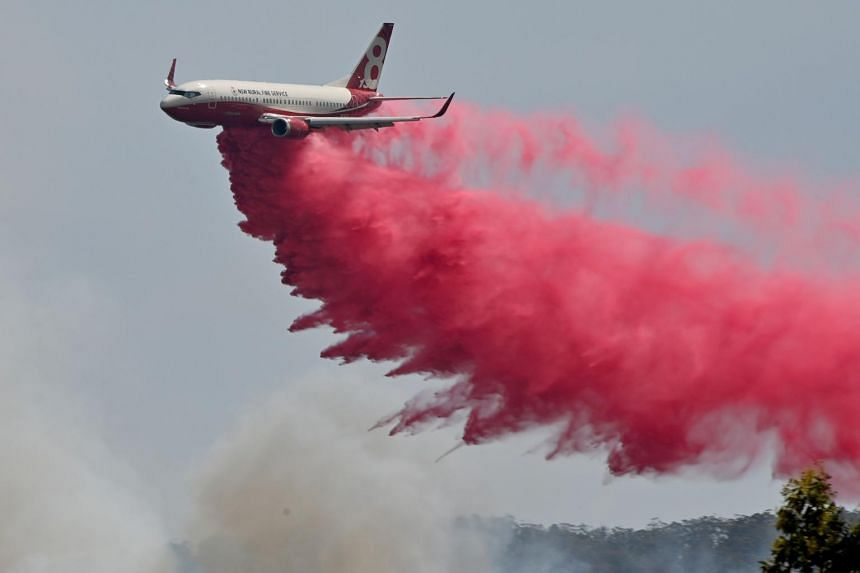 A Rural NSW Fire Service plane drops fire retardant on an out-of-control bush fire near Taree, on Nov 12, 2019.