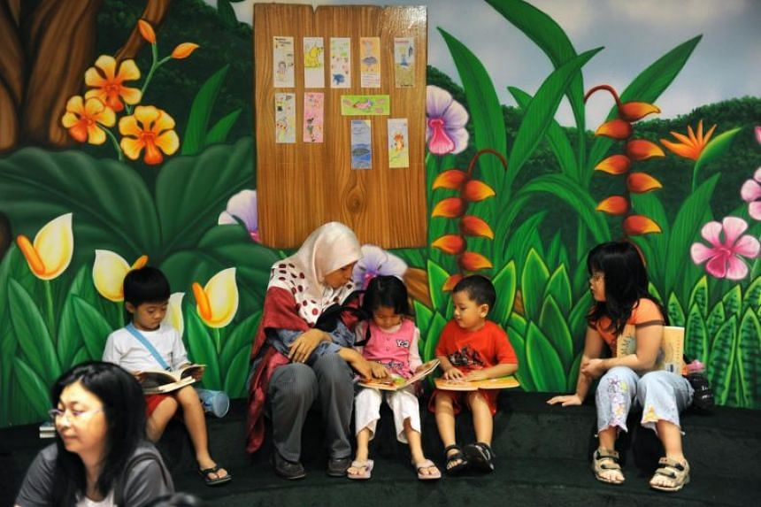People at the storytelling zone in the Choa Chu Kang Library.
