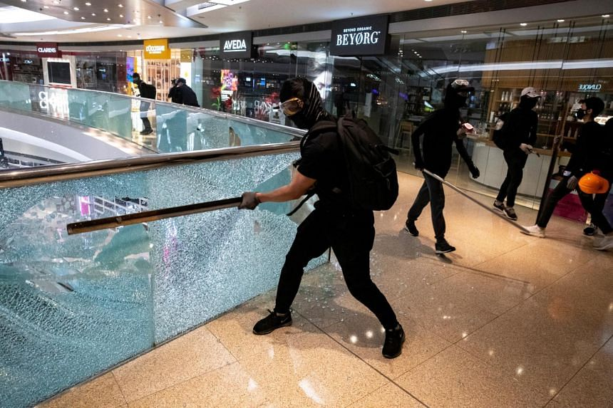 Protesters vandalise Festival Walk mall in Kowloon Tong, Hong Kong on Nov 12, 2019.