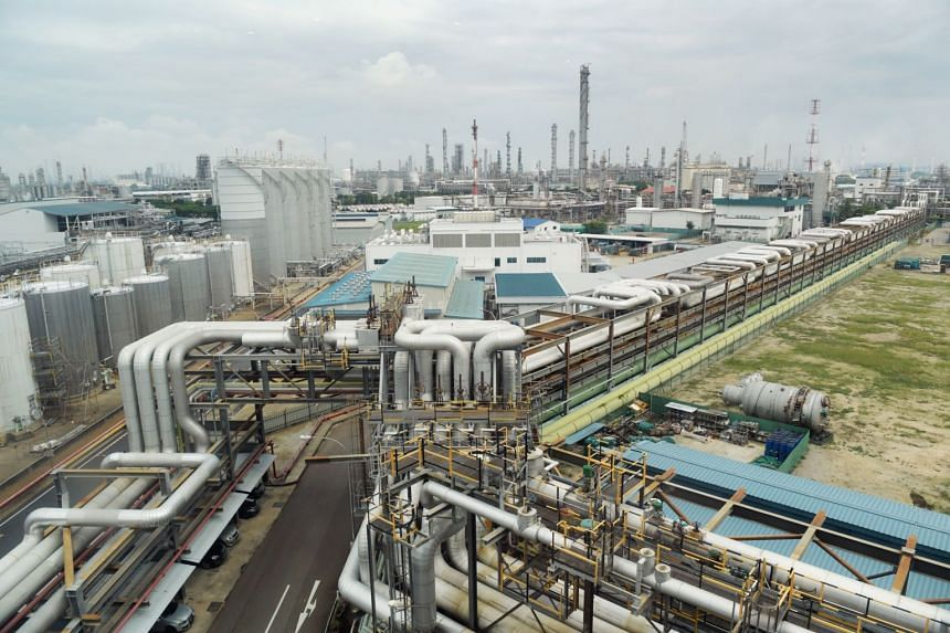 Chemical and utility pipelines seen on Jurong Island in a photo taken on Nov 5, 2018.