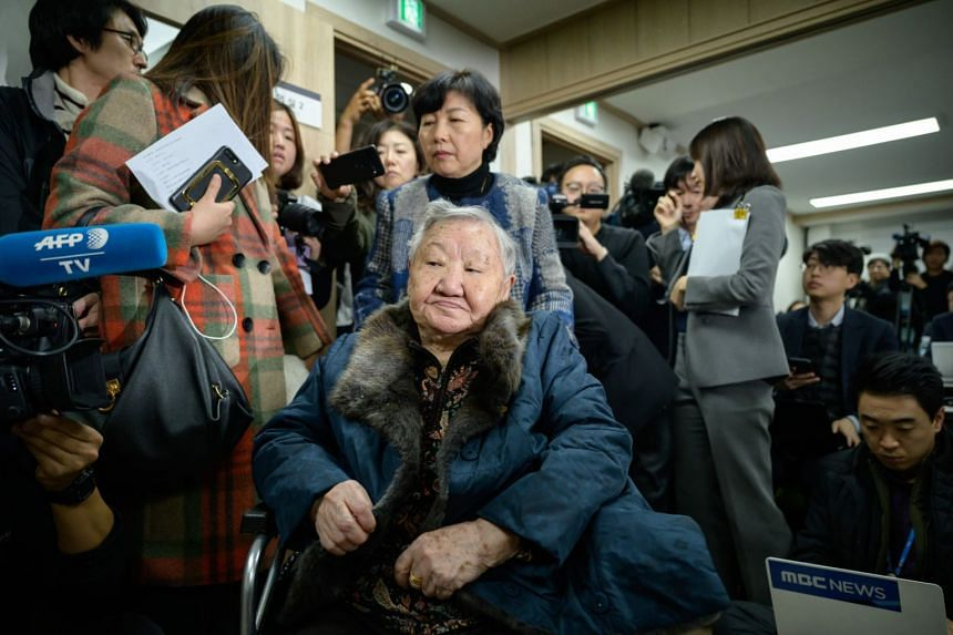 """Former """"comfort woman"""" Gil Won-ok arrives at a press conference near the Seoul Central District Court in Seoul on Nov 13, 2019."""