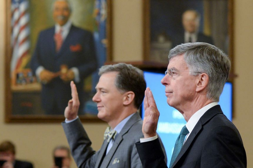 George Kent, the deputy assistant secretary of state for European and Eurasian affairs, and William Taylor, the top US diplomat in Ukraine, are sworn in.