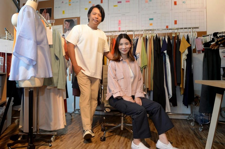 Founders of Beyond The Vines Rebecca Ting, 32, and Daniel Chew, 33, in their studio within their store at Funan Mall.