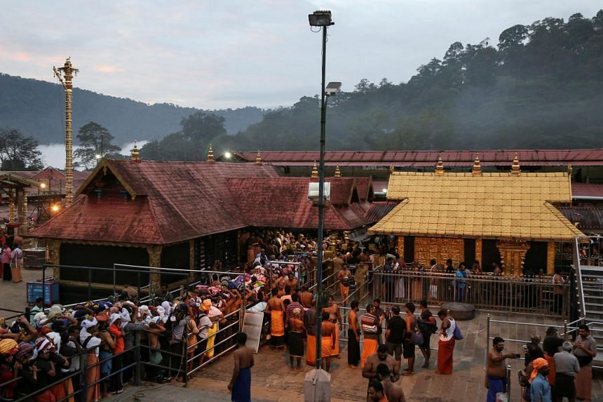 According to tradition, women of child-bearing age are not allowed in Kerala's Sabarimala temple.