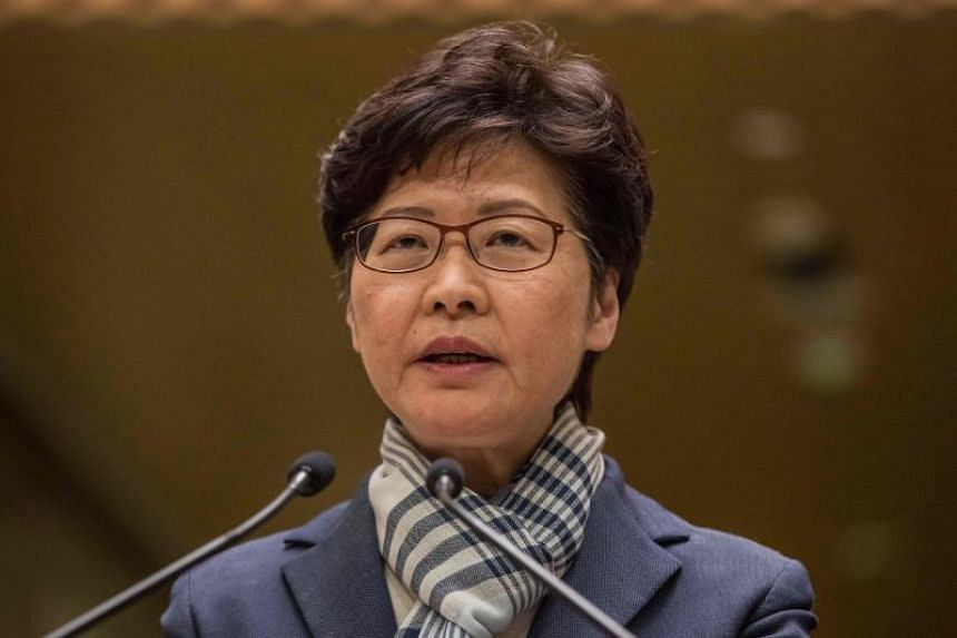A photo taken on Nov 11 shows Hong Kong chief executive Carrie Lam during a press conference in Hong Kong.