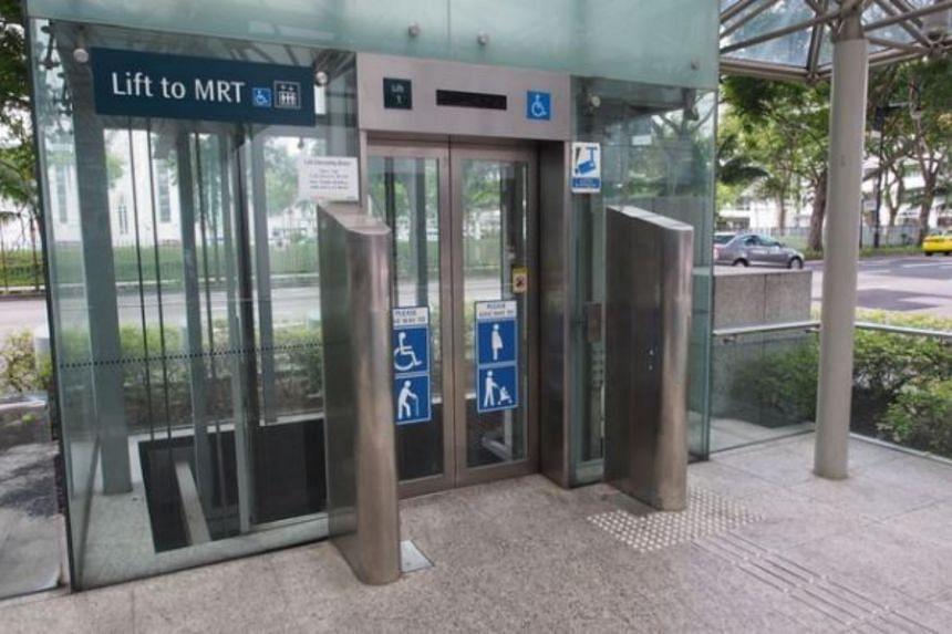 A lift at an MRT station.