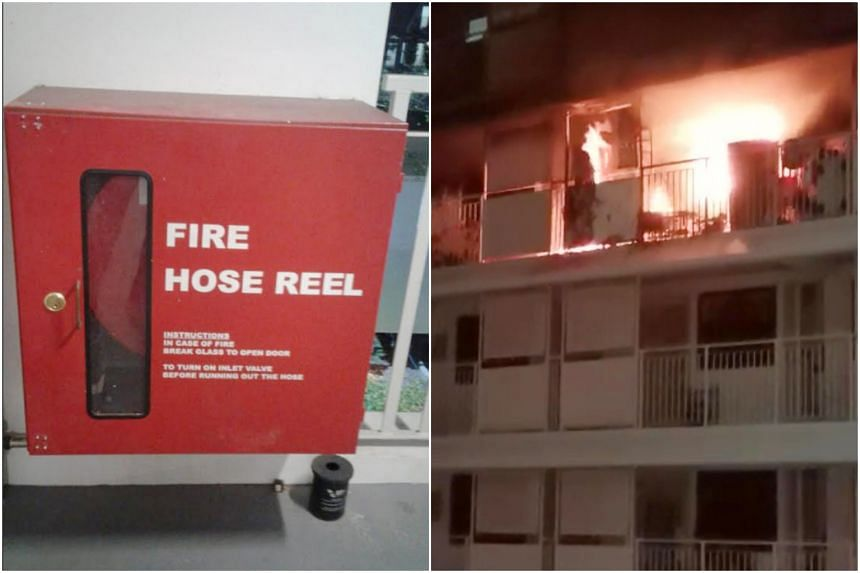 Singapore Civil Defence Force (SCDF) officers fighting a blaze at Block 210A Bukit Batok Street 21 on Nov 1 had to use water from SCDF emergency vehicles because there was no water coming from a hose reel at the block.