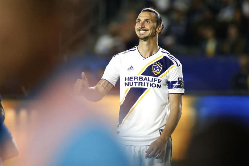 In a file photo taken on June 2, 2019, Zlatan Ibrahimovic of Los Angeles Galaxy reacts after a play during the second half of a game against the New England Revolution at Dignity Health Sports Park in Carson, California.