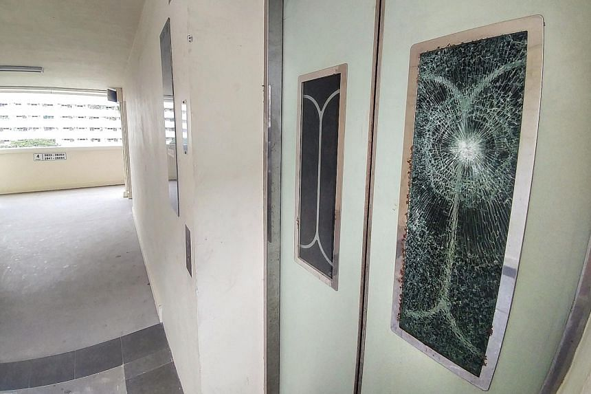 In August last year, a man was arrested after allegedly smashing the glass panels of lift doors in Eunos Crescent (right). The 15 PAP town councils said on Wednesday that the number of lift vandalism cases fell from 342 in 2017 to 90 over the past 12