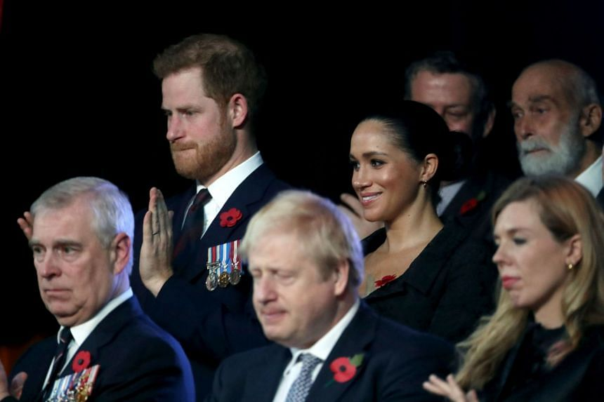 Harry and Meghan join (front, from left) Britain's Prince Andrew, British Prime Minister Boris Johnson and Carrie Symonds for the annual Royal British Legion Festival of Remembrance in London, Nov 9, 2019.
