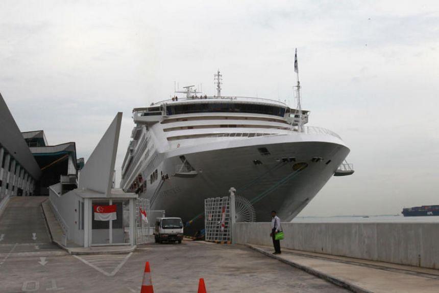 A photo taken in 2013 shows the cruise ship, MV Sun Princess, docked at Marina Bay Cruise Centre.