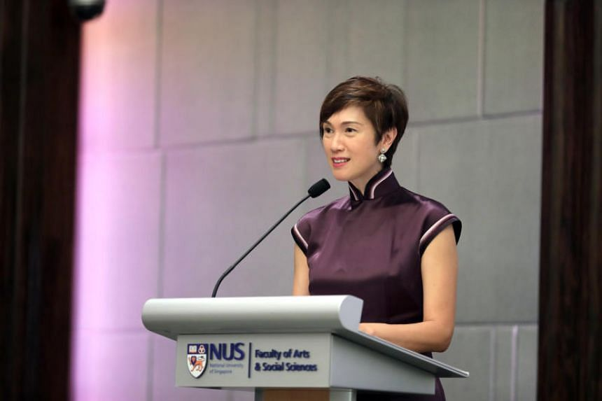 Minister for Manpower Josephine Teo speaking at the National University of Singapore Faculty of Arts and Social Sciences 90th anniversary gala dinner on Nov 15, 2019.