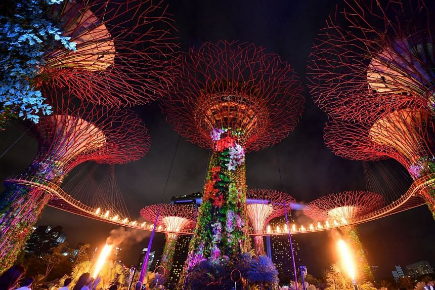 A light show at the Supertree Grove in Gardens By the Bay during an event in 2017. Singapore has been ranked the 11th most beautiful city in the world.