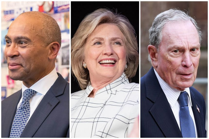 A string of establishment figures - (from left) Mr Deval Patrick, Mrs Hillary Clinton and Mr Michael Bloomberg - have recently thrown their hats in the ring or signalled their intention to do so.