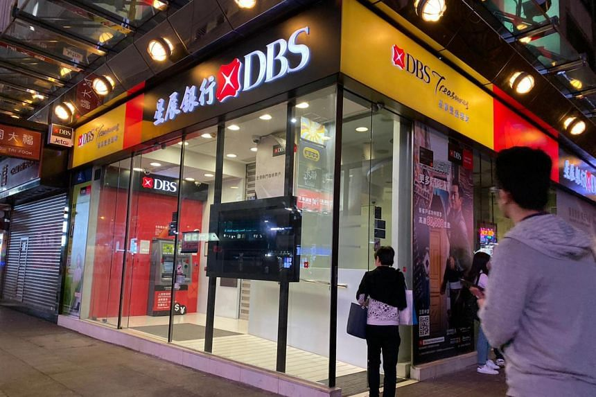 A photo from Nov 14, 2019, shows the DBS branch at Nathan Road, Hong Kong, which had earlier been vandalised.