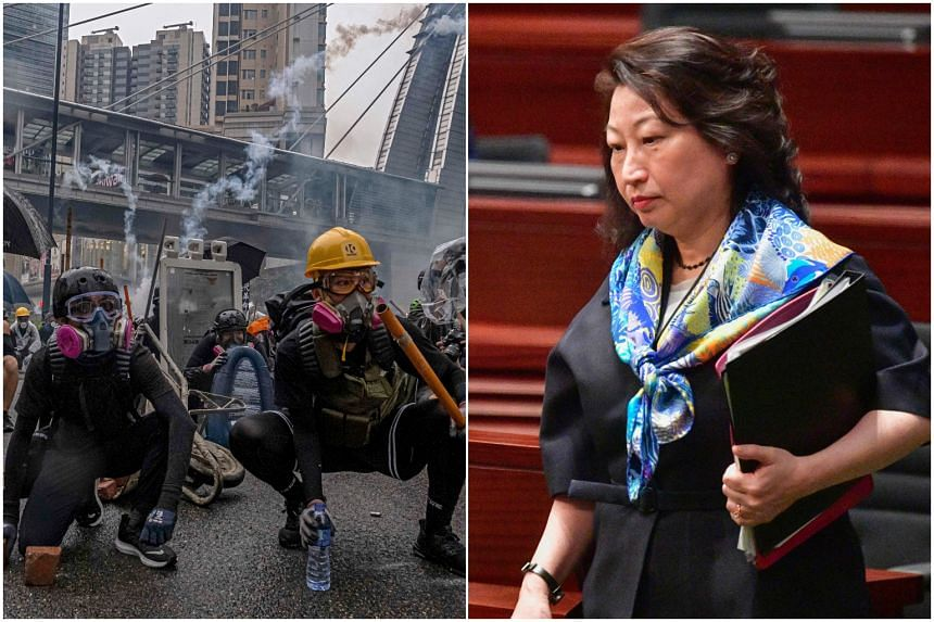 (Left) A protest in the Tsuen Wan area of Hong Kong, on Aug 25, 2019. (Right) Justice Secretary Teresa Cheng, who was attacked in London.