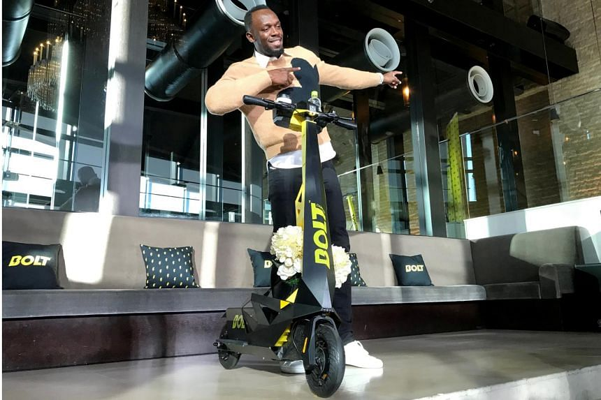 World-record sprinter Usain Bolt at the launch of Bolt Mobility in Tokyo on Nov 15, 2019.