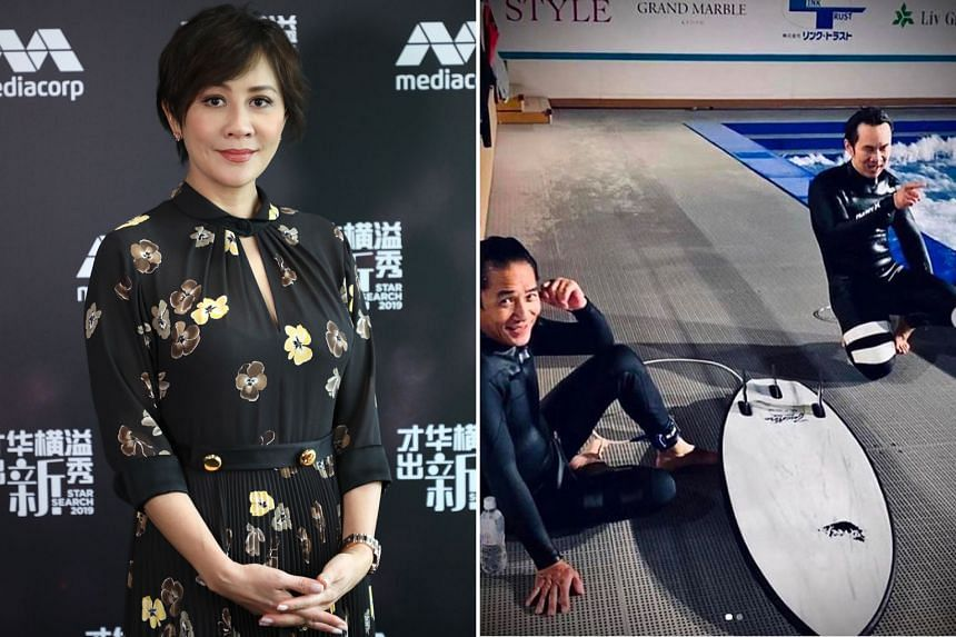 Carina Lau (left) caused a minor flurry online with a photo of her husband, actor Tony Leung (right), learning how to surf.