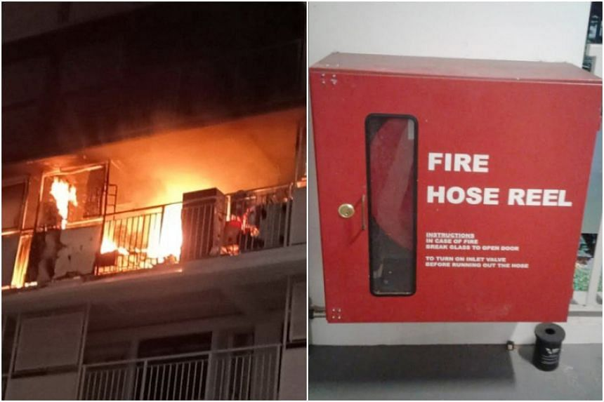 Firemen responding to a fire at Block 210A Bukit Batok Street 21 on Nov 1 found they could not use the fire hoses as the cabinets were padlocked.