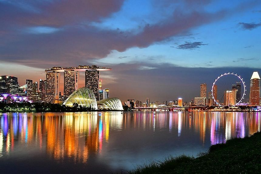 The Singapore skyline, featuring Gardens by the Bay, Marina Bay Sands, Marina Bay Financial Centre and the Singapore Flyer. Singapore was the highest-ranked Asian city in the list of 50.