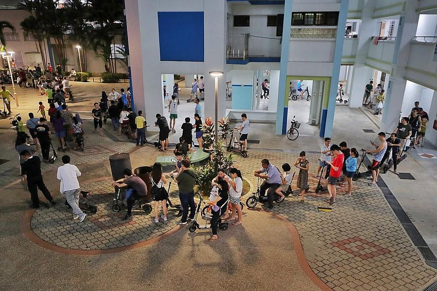 Long queues were seen outside Vista Point in Woodlands on Thursday evening, as e-scooter riders waited to dispose of their devices that do not meet safety regulations. Under the Land Transport Authority's (LTA) early disposal scheme, owners of regist